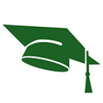 graduation cap - green - closecrop